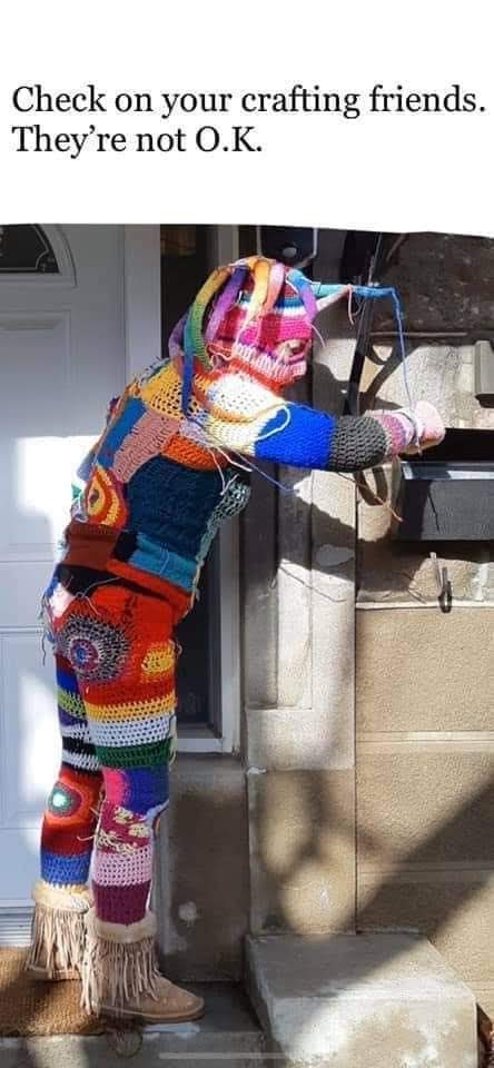 Person dressed in crochet clothes